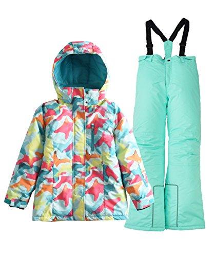 Hiheart Girls' Winter Warm Snowsuit Hooded Snow Wear Jacket + Pants 2 PCS Set Blue 4/5