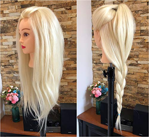 Professional 24 Inches Long 50% Real Human Hair Hairdressing Equipment Styling Head Doll Mannequin Training Head Tools Braiding Cutting Student Practice Model with Clamp (Platinum Blonde-)