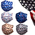 Disposable Face Mask Printed with American Flag Design,Creative Heart,Novel Star,I Love USA,Fashion 3 PLY Breathable Safety Dust Masks Face Cover,Ajustable Nose Clip for Unisex Adult Women Men,50 Pack