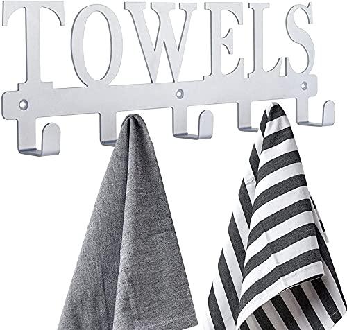 Toallero Toallero para baño, ganchos para toallas, ganchos para puerta para baño, dormitorio, cocina, toallas de playa, albornoz, ropa, soporte de pared de metal pulido con chorro de arena a