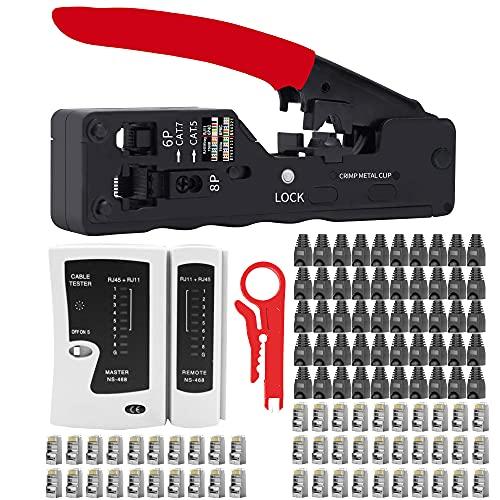 LUBEIN Strumenti Kit di Rete Professionali, Pinza Crimpatrice rj45, Manutenzione del Computer Kit LAN Tester del Cavo 9 in 2 Strumenti di Riparazione (rosso)