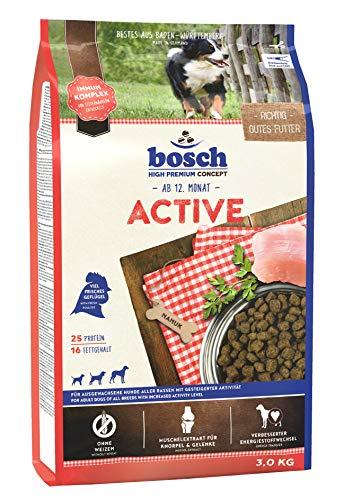 bosch HPC Active | Hundetrockenfutter für ausgewachsene Hunde aller Rassen mit gesteigerter Aktivität, 4 x 3 kg