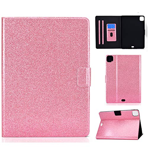 XFDSFDL Protective Cover for Apple iPad Air 4 (4th Generation) (10.9 Inch) PU Leather Flip Case Glitter Bling Bling Design with Built Stand Holster Wallet Auto Wake/Sleep Device Shell, Pink