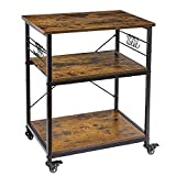 """AHB 24"""" Kitchen Cart with 4 Smooth Wheels and 10 Hooks, 3-Tier Microwave Stand Rolling Bakers Rack Coffee Cart Shelf Organizer for Living Room Decoration"""