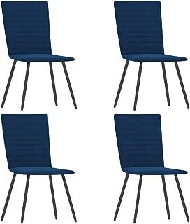 pedkit Sillas de Comedor 4 Unidades Sillas Cocina Nórdico Terciopelo Azul 42 x 53 x 86,5 cm