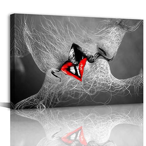 Black and White Love Kiss Abstract Picture Modern Canvas Wall Art for Bedroom Wall Decor for Couples Canvas Prints Artwork for Home Bathroom and Living Room Wall Decoration Stretched and Ready to Hang