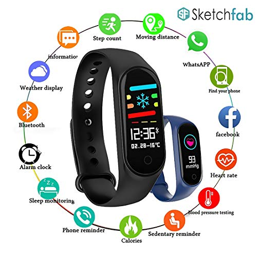 Sketchfab Bluetooth Fitness Smart Health Band/Smart Fitness Band with Call Whatsapp Alert Stop Watch Pedometer for Men Women Boys Girls