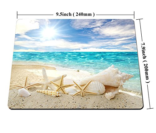 Smooffly Gaming Mouse Pad Custom,Seashells Starfishes Beach Seascape Thick Rubber Mousepad 9.5 X 7.9 Inch (240mmX200mmX3mm) Photo #5