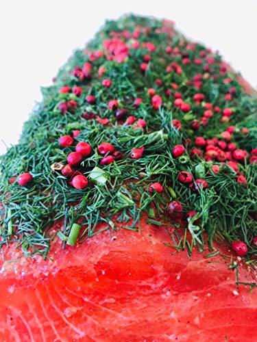 Lachs gebeizt mit Dill und Rosa Beeren 300g ✔ Mit frischen Kräutern und Bio Zitrusfrüchen in eigener Manufaktur hergestellt