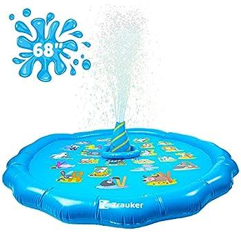 "Zrauker Sprinkler for Kids 68"" Splash Pad Sprinkler -Whale Center Spray Water with Toss Ring Inflatable Sprinkler Wading Pool-Summer Outdoor Water Game Sprinkler - Water-Park Toys for Backyards"