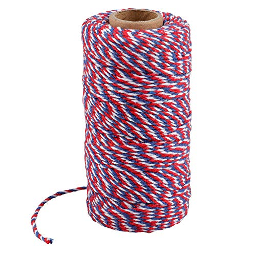 Cotton Bakers Twine String Holiday Christmas Twine 328 Feet Crafts Gift Wraping Twine,Red Blue and White Twine