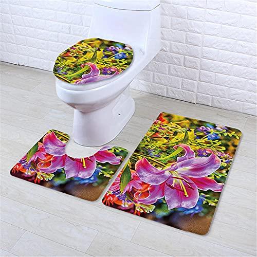 IRCATH Colorido combinación de Aceite Color Pintura patrón Floral impresión Digital Anti-desvanecimiento Anti-skit de Tres Piezas Almohadilla-C6 Alfombra de Baño de Espuma Viscoelástica Cómoda y Tran