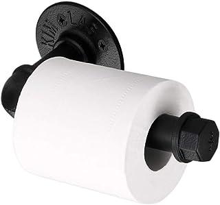 Sumnacon Vintage Style Toilet Paper Holder, Industrial Iron Pipe Roll Tissue Holder Towel Racks with Hardware for Bathroom, Bedroom, Kitchen (Black)