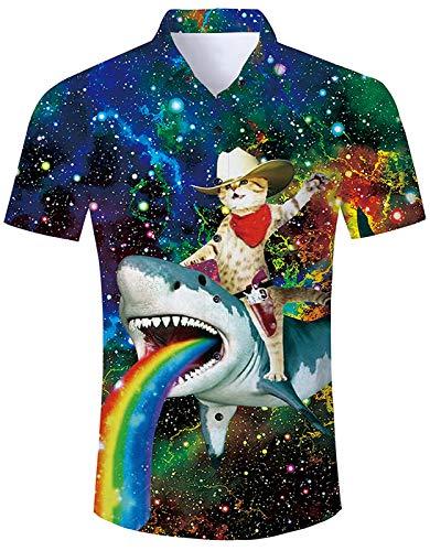 RAISEVERN Men's Dress Shirt Slim-fit Short Sleeve Galaxy Captain Cat & Rainbow Shark Tee Funny Aloha Casual Button-Down Shirts