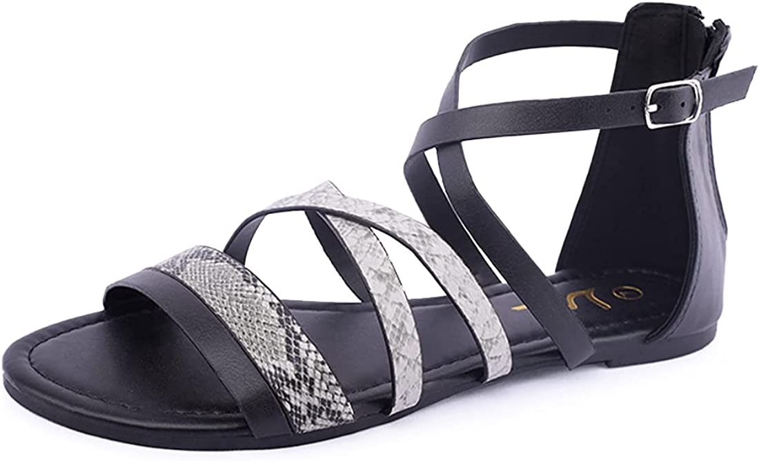 Milwaukee Mall Women's Flat Mesa Mall Sandals Gladiator Ankle Strap Strappy