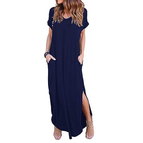 5e5d0df7e7659 GRECERELLE Women's Casual Loose Pocket Long Dress Short Sleeve Split Maxi  Dresses