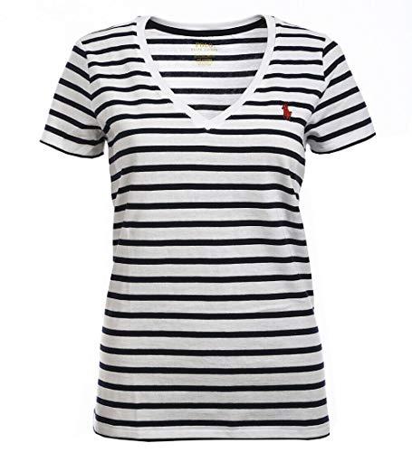 Polo Ralph Lauren Womens V-Neck Jersey T-Shirt (Medium, White/Navy Stripe)