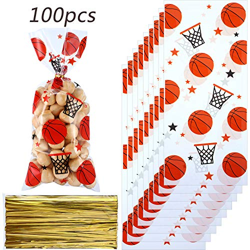 Blulu 100 Pieces Basketball Party Treat Bags Basketball Candy Bags Basketball Goodie Bags Sports Treat Bags with 100 Pack Gold Twist Ties for Basketball Party Favors