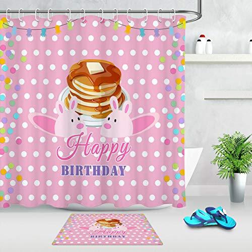 WANGXIAO Nettes Häschen Alles Gute zum Geburtstag-Kuchen-Duschvorhang-Satz 12 Haken für Duschvorhang wasserdichtes Badezimmerdekor