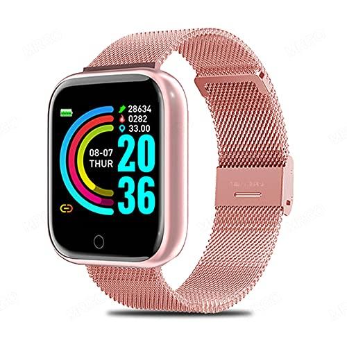 DOUDOU Smart Watch Hombre Y Fitness Fitness Sports Smart Watch Pulsera Tracker Rastreador Monitor De Ritmo Cardíaco Android iOS(Color:B)