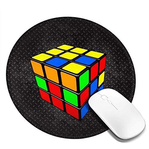 Alfombrilla De Ratón Redonda   Cube Rubik Alfombrilla De Ratón Antideslizante para Juegos   20 Cm (3 Mm De Grosor)   Alfombrilla De Goma Lavable para Ordenador/Portátil Y Consolas