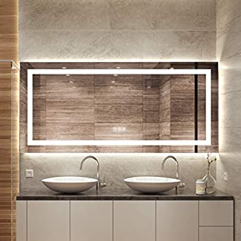 FOMAYKO 47 x 21 Inch Bathroom LED Vanity Mirror Anti-Fog Wall Mounted Makeup Full Length/Body/Floor Mirror with Light  Horizontal/Vertical