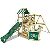 WICKEY Spielturm Klettergerüst SeaFlyer mit Schaukel & grüner Rutsche, Baumhaus mit Sandkasten, Kletterleiter & Spiel-Zubehör