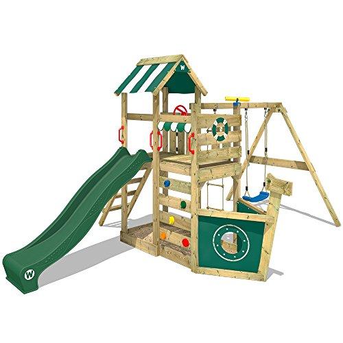 WICKEY Spielturm Klettergerüst SeaFlyer Spielgerät Garten Kletterturm mit Schaukel, Rutsche und viel Zubehör, grüne Rutsche + grüne Plane
