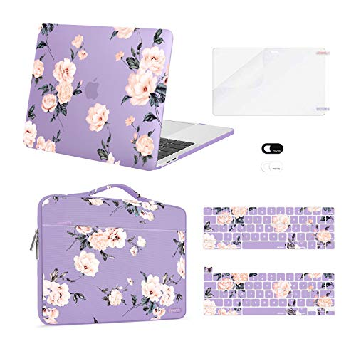 MOSISO Compatible with MacBook Pro 13 inch Case 2016-2020 Release A2338 M1 A2289 A2251 A2159 A1989 A1706 A1708, Plastic Camellia Hard Shell Case&Bag&Keyboard Skin&Webcam Cover&Screen Protector, Purple