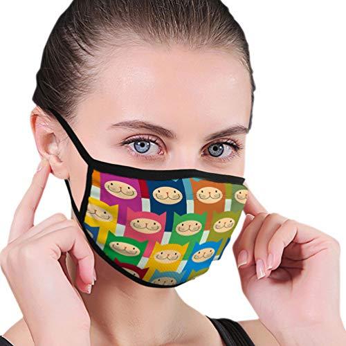 NoneBrand 238 wasbaar, herbruikbaar, voor fietsers, gezichtsmasker, uniseks, katten, kleurrijke dieren, geometrisch