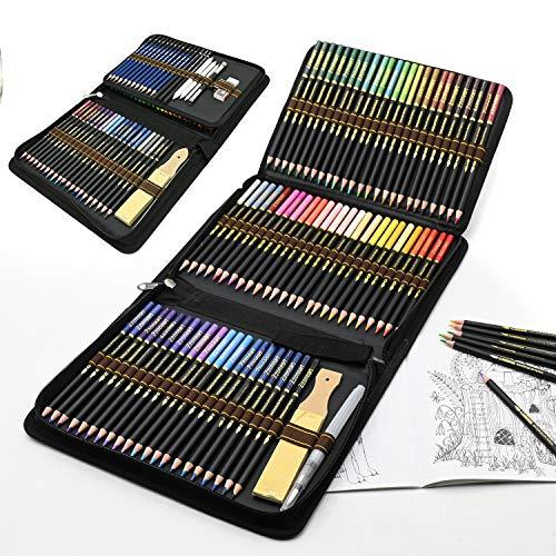 Lápices acuarelables profesionales, 96 Pieza Set de Dibujo Artista Kit con Lapices de Colores, Lápices de Dibujo y Bosquejo...
