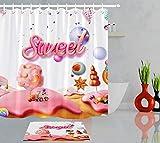 Märchenwelt Süßigkeiten Berg Süßigkeiten Wald Duschvorhang Set 12 Haken für Duschvorhang wasserdichtes Badezimmerdekor