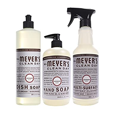 Mrs. Meyer's Clean Day Kitchen Basics Set, Lavender, 3 ct: Dish Soap (16 fl oz), Hand Soap (12.5 fl oz), Multi-Surface Everyday Cleaner (16 fl oz)