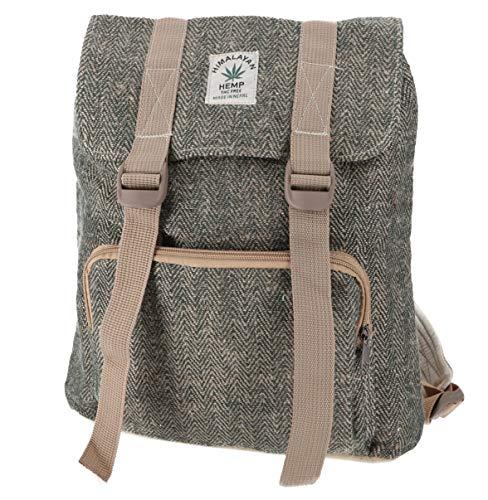 GURU SHOP Ethno Hanf Rucksack mit Schnallen - Khaki, Herren/Damen, Grün, Size:One Size, 30x30x15 cm, Ausgefallene Stofftasche
