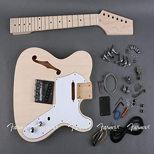 LKAIBIN Guitarra eléctrica DIY Kit de Bricolaje Set Guitar BlobSwood Cuerpo Diapotado...