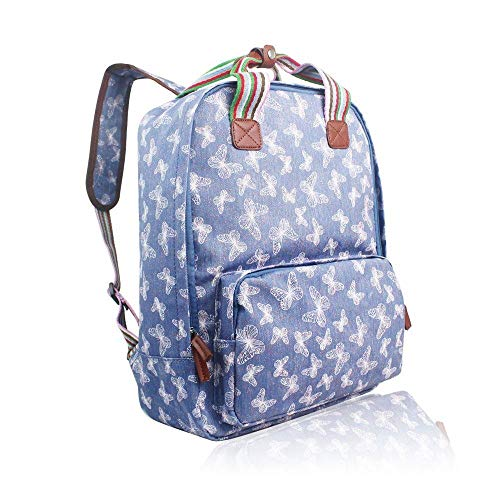 The Olive House Womens Butterfly Print Matte Oilcloth Laptop Rucksack Bag Blue