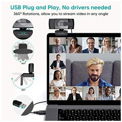 Wansview Webcam 1080p Autofocus con Microfonos de Reducción de Ruido, USB Webcam Plug and Play con Clip Giratorio, Full… 5