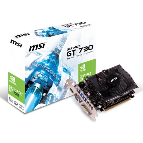 MSI nVIDIA GeForce GT 730 Scheda Video, VGA, 2 GB DDR3, PCIe, Nero/Antracite