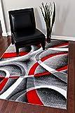 2305 Gray Black Red White Swirls 8'9 x 12'6 Modern Abstract Area Rug Carpet