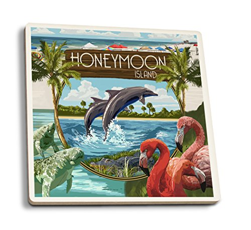 Lantern Press Honeymoon Island, Florida - Montage (Set of 4 Ceramic Coasters - Cork-Backed, Absorbent)