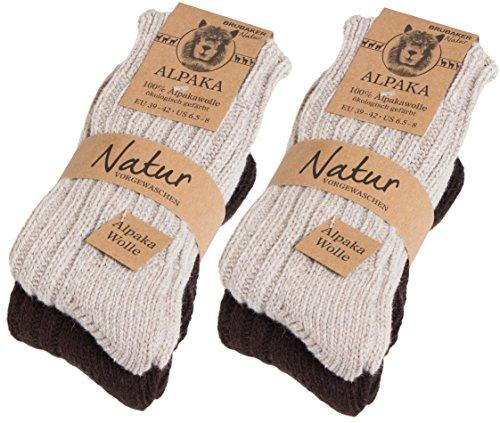BRUBAKER 4 pares de calcetines hombre de pura lana de alpaca naturales y grises