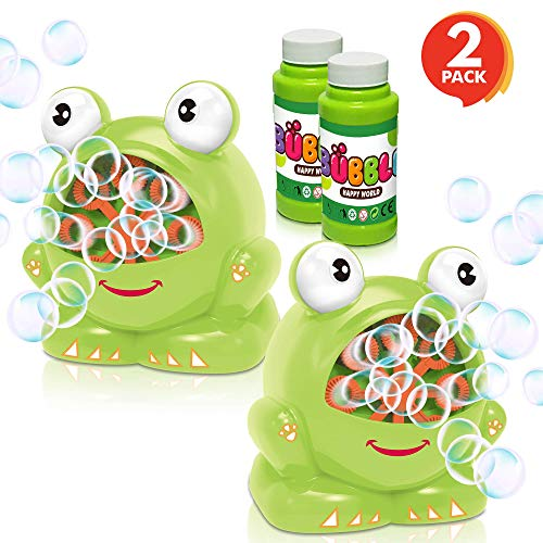 ArtCreativity Frog Bubble Machine Set for Kids - 2 Pack - Includes 2 Bubbles Blowing Toys and 2 Bottles of Solution - Fun Summer Outdoor or Party Activity - Best Gift for Boys, Girls, and Toddlers