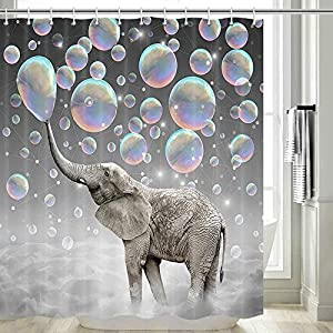 Elephant Shower Curtain, Funny Blowing Bubbles Elephant Funny Elephant Cute Shower Curtain for Kids, Funny Shower Curtain Set, Hooks Included, 70 in