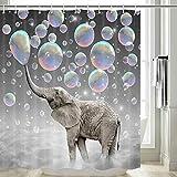 Elefanten-Duschvorhang, lustig blasende Blasen, Elefant, niedlicher Duschvorhang für Kinder, lustiges Duschvorhang-Set, Haken enthalten, 177,8 cm