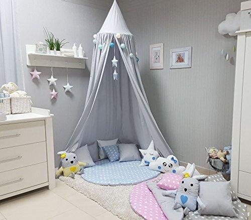 Babymajawelt® Betthimmel Baldachin Grau XXL Stars (Sterne) - Kinderzimmer Zelt zum Aufhängen, Kinderzelt, Babybett Himmel, Versteck, Moskitonetz, Spielecke (GRAU)