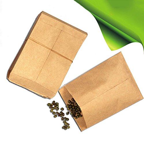 Quanjucheer vintage Sacs papier kraft de graines de récipient, 100 Jardin Fleur Plante Graines de légumes Pouch multicolore