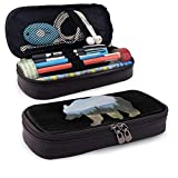 Yuanmeiju New Style Bear on a Hike Multifunction Canvas Leather Estuche Pen Bag Makeup Pouch