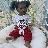 POHOVE 22 pulgadas piel negra Saskia con dientes renacer Todderl niña bebé muñeca realista tacto com...