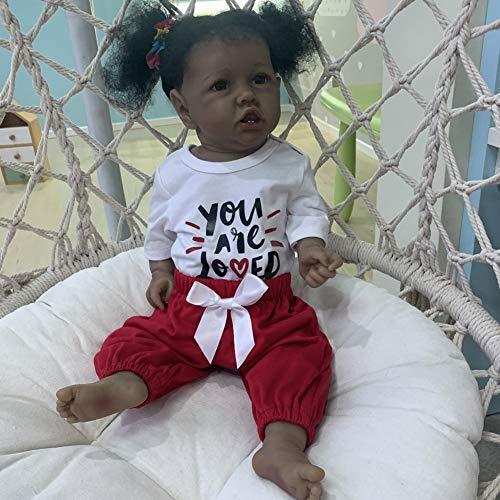 POHOVE 22 pulgadas piel negra Saskia con dientes renacer Todderl niña bebé muñeca realista tacto completo cuerpo silicona afroamericano bebé