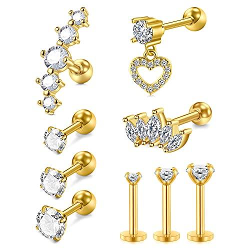 AVYRING 9Piezas Piercing Tragus Acero Inoxidable Diamante CZ Colgante 16G Piercing Oreja Helix Cartilago Conch para Mujer Hombre Oro